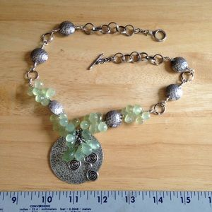 Sterling and Phrenite Necklace.